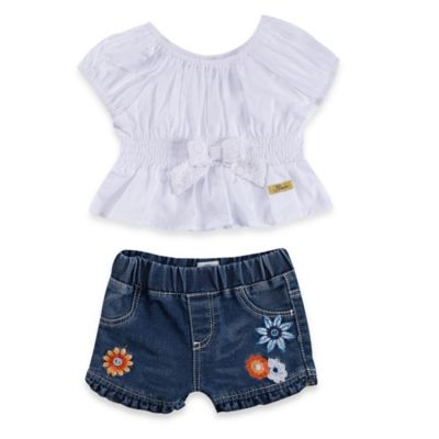Guess® Size 12M 2-Piece Puff Sleeve Bow Top and Embroidered Denim Short Set