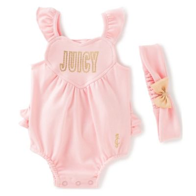 juicycouture™ Size 3-6M 2-Piece Flutter Sleeve Heart Sunsuit and Headband Set in Pink