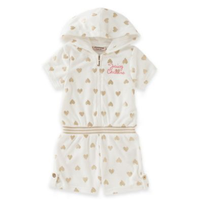 juicycouture™ Size 0-3M Zip-Up Hooded French Terry Romper in White/Gold