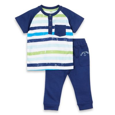 Petit Lem™ Size 3M 2-Piece Fishy Fishy Henley Shirt and Pant Set in Navy/White