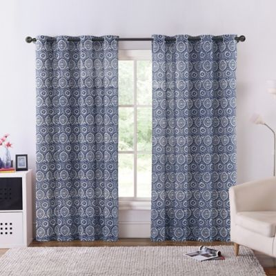 VCNY Carla 84-Inch Grommet Top Window Curtain Panel in Grey