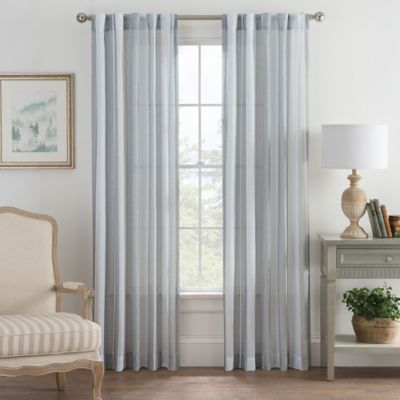 Bayport Stripe 63-Inch Rod Pocket/Back Tab Window Curtain Panel in Blue