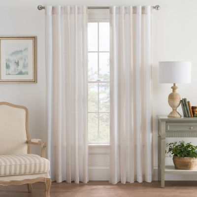 Bayport Stripe 63-Inch Rod Pocket/Back Tab Window Curtain Panel in Linen