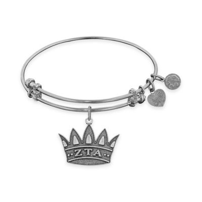 Angelica Collection Silvertone Zeta Tau Alpha Sorority Charm Bangle Bracelet