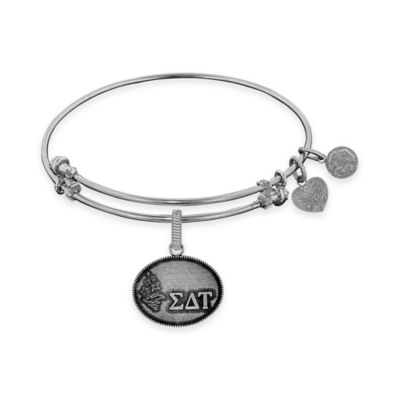 Angelica Collection Silvertone Sigma Delta Tau Sorority Charm Bangle Bracelet