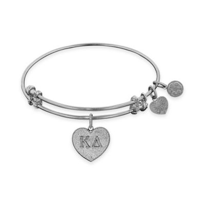 Angelica Collection Silvertone Kappa Delta Sorority Charm Bangle Bracelet