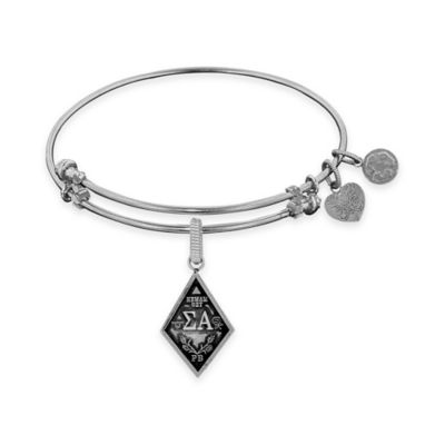 Angelica Collection Silvertone Sigma Alpha Sorority Charm Bangle Bracelet