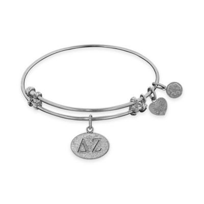 Angelica Collection Silvertone Delta Zeta Sorority Charm Bangle Bracelet