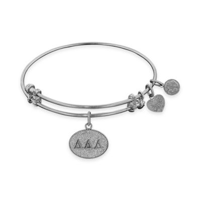 Angelica Collection Silvertone Delta Delta Delta Sorority Charm Bangle Bracelet