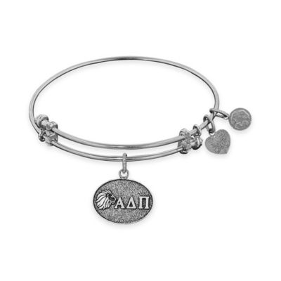 Angelica Collection Silvertone Alpha Delta Pi Sorority Charm Bangle Bracelet