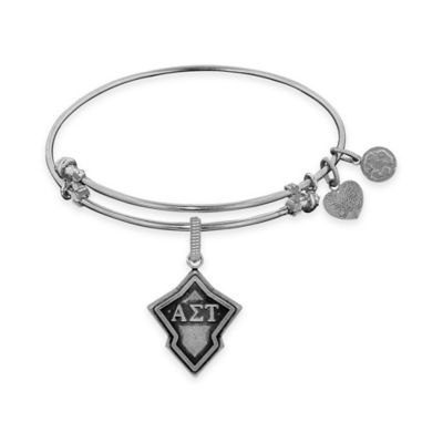 Angelica Collection Silvertone Alpha Sigma Tau Sorority Charm Bangle Bracelet