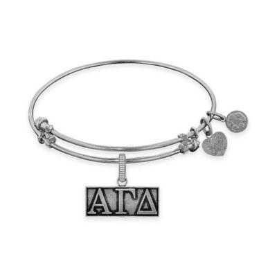 Angelica Collection Silvertone Alpha Gamma Delta Sorority Charm Bangle Bracelet