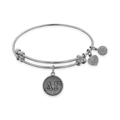 Angelica Collection Silvertone Delta Gamma Sorority Charm Bangle Bracelet