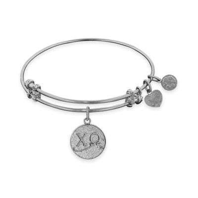 Angelica Collection Silvertone Chi Omega Sorority Charm Bangle Bracelet