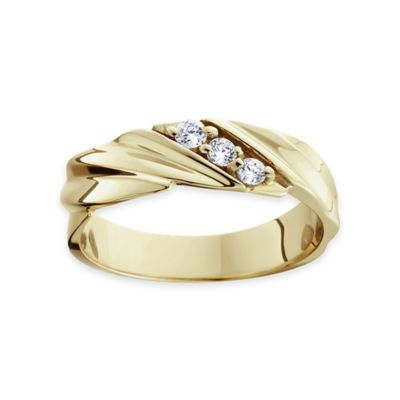 14K Yellow Gold .20 cttw Diamond Size 8.5 Men's 3-Stone Ring