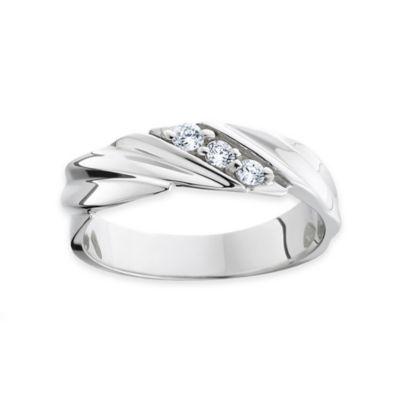 14K White Gold .20 cttw Diamond Size 8 Men's 3-Stone Ring