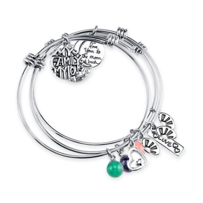 Shine Stainless Steel Charm Bangles Mother and Daughter Value (Set of 3)
