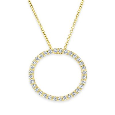 14K Yellow Gold .50 cttw Diamond 18-Inch Chain Circle Pendant Necklace