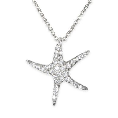 Chi Chi Sterling Silver Cubic Zirconia 18-Inch Chain Starfish Pendant Necklace