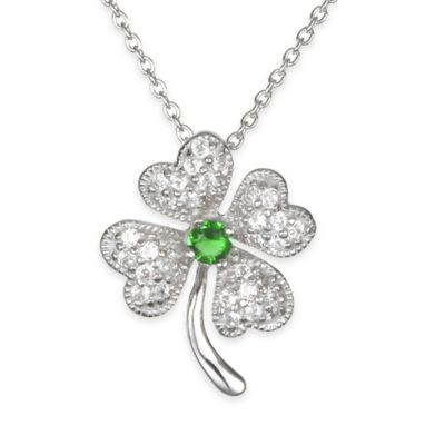 Chi Chi Sterling Silver Cubic Zirconia and Simulated Emerald 4-Leaf Clover Pendant Necklace