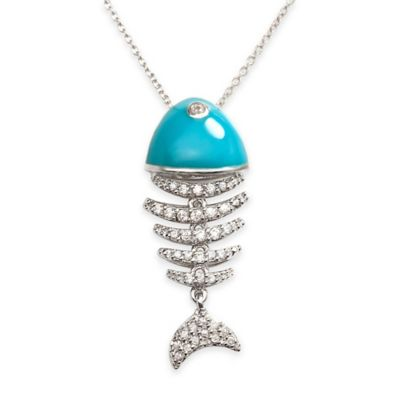 Chi Chi Sterling Silver Cubic Zirconia 18-Inch Chain Wiggly Fish Pendant Necklace