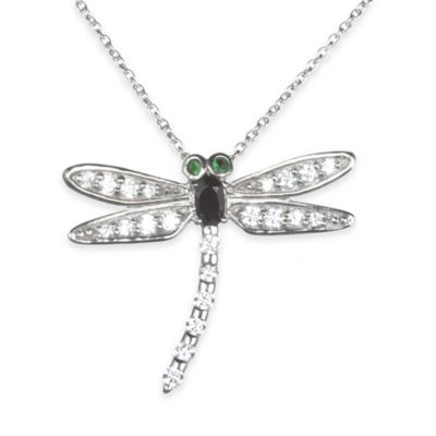 Sterling Silver Cubic Zirconia and Lab-Created Emerald 18-Inch Chain Dragonfly Pendant Necklace