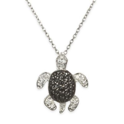 Chi Chi Sterling Silver Black and White Cubic Zirconia 18-Inch Chain Turtle Pendant Necklace