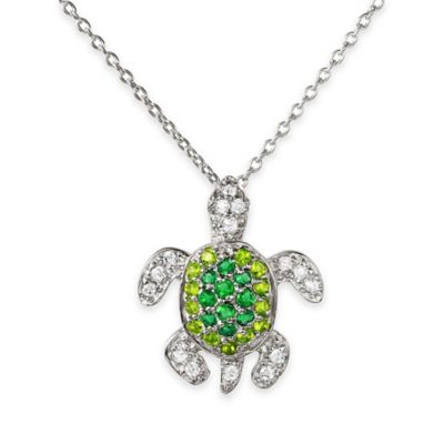 Chi Chi Sterling Silver Simulated Peridot and Simulated Emerald Turtle Pendant Necklace