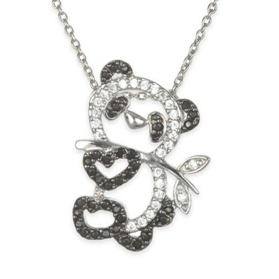 Chi Chi Sterling Silver Black and White Cubic Zirconia 18-Inch Chain Panda Bear Pendant Necklace