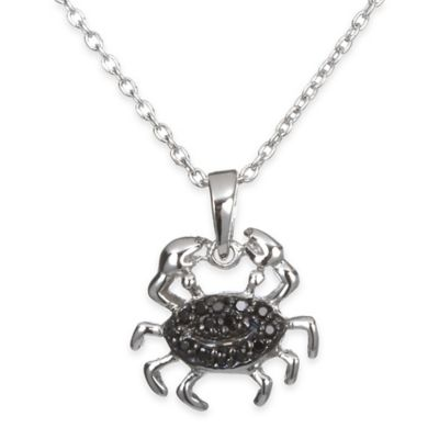 Chi Chi Sterling Silver Black Cubic Zirconia 18-Inch Chain Crab Pendant Necklace