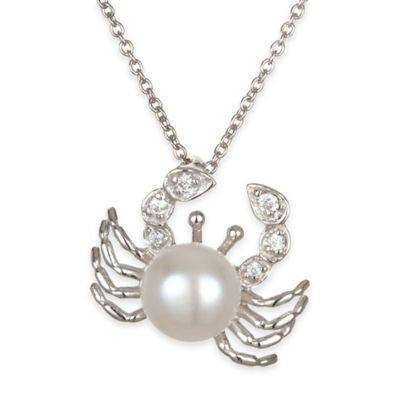Chi Chi Sterling Silver Cubic Zirconia and Freshwater Cultured Pearl Crab Pendant Necklace