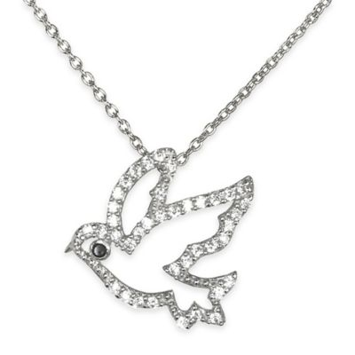 Chi Chi Sterling Silver Cubic Zirconia 18-Inch Chain Peace Bird Pendant Necklace