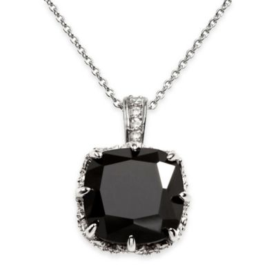 Chi Chi Sterling Silver Cushion-Cut Black Cubic Zirconia and White Cubic Zirconia Pendant Necklace