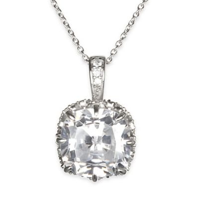 Chi Chi Sterling Silver Cushion-Cut Cubic Zirconia 18-Inch Chain Pendant Necklace
