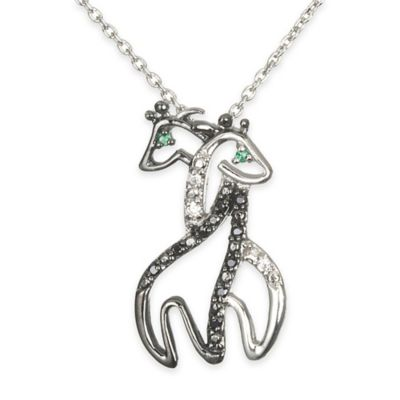 Chi Chi Sterling Silver Cubic Zirconia and Simulated Emerald Double Giraffe Pendant Necklace