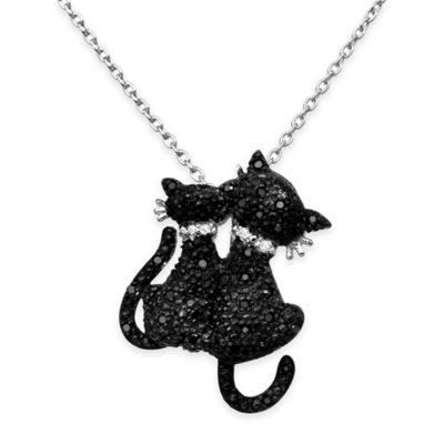 Chi Chi Sterling Silver Black Cubic Zirconia 18-Inch Chain 2 Cats Pendant Necklace