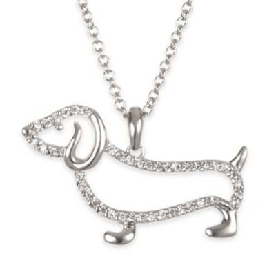 Chi Chi Sterling Silver Cubic Zirconia 18-Inch Chain Dachshund Silhouette Pendant Necklace