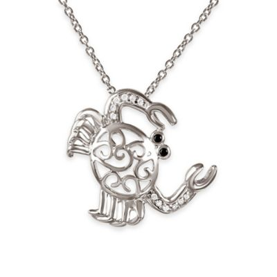 Chi Chi Sterling Silver Cubic Zirconia 18-Inch Chain Filigree Crab Pendant Necklace