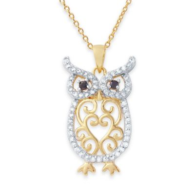 Chi Chi Two-Tone Gold-Plated and Sterling Silver Cubic Zirconia Filigree Owl Pendant Necklace