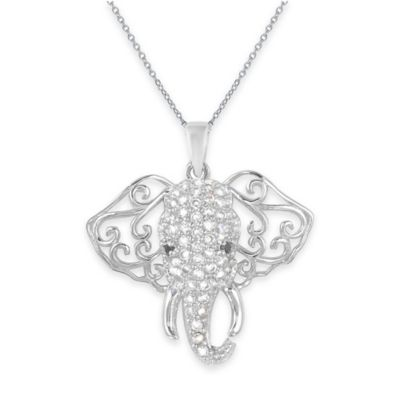 Chi Chi Sterling Silver Black and White Cubic Zirconia Filigree Elephant Pendant Necklace