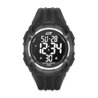 Skechers® Men's 50mm Digital Watch in Black Plastic w/Black Polyurethane Strap