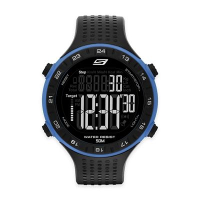 Skechers® Men's 50mm Blue Ring Digital Watch in Black Plastic w/Black Polyurethane Strap