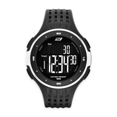 Skechers® Men's 47mm White Ring Digital Watch in Black Plastic w/Perforated Polyurethane Strap