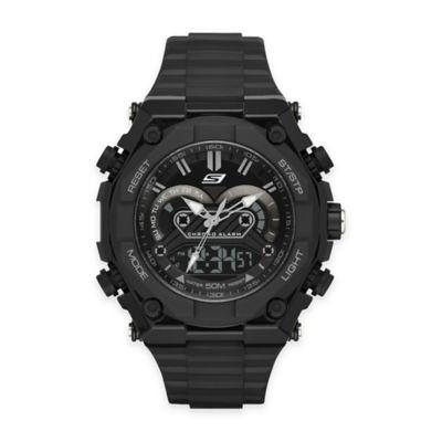Skechers® Men's 50mm Analog and Digital Watch in Black Plastic with Black Polyurethane Strap