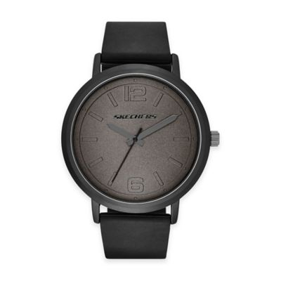 Skechers® Men's 46mm Grey Dial Watch in Gunmetal with Black Polyurethane Strap