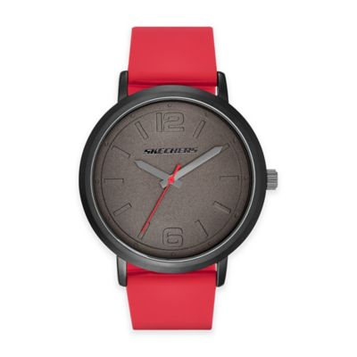 Skechers® Men's 46mm Grey Dial Watch in Gunmetal with Red Polyurethane Strap
