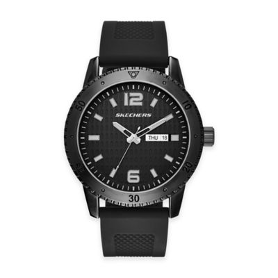 Skechers® Men's 48mm Black Textured Dial Watch in Black with Black Silicone Strap