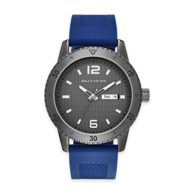 Skechers® Men's 48mm Grey Textured Dial Watch in Gunmetal with Blue Silicone Strap