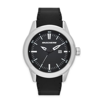 Skechers® Men's 45mm Black Dial Watch in Silvertone with Black Silicone Strap
