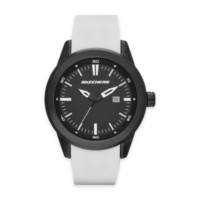 Skechers® Men's 45mm Black Dial Watch in Black with White Silicone Strap